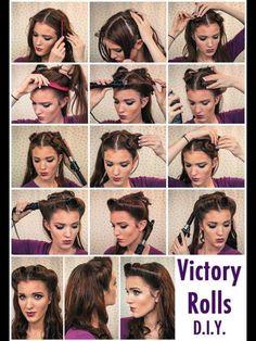 Step by step Pinup hairstyle, vintage