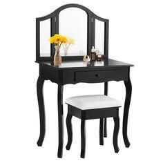 Giantex Bathroom Vanity Makeup Table Set w/ Tri-folding Mirror & Cushioned Stool Dressing Table (Black)