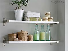 The Lily Pad Cottage | Shelving over the tub-love it!