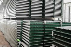 """Gravity Roller Conveyors - now  $18/ft.  This new buy is excellent condition used gravity roller conveyor. It looks like brand new!  8,400 feet available 24"""" wide x 10' long 1.3"""" bolted rollers 3"""" centers 2.5"""" frames Normally $18.00 per foot Sale priced as low as $13.95 per foot""""  #supplychain #logistics #conveyor #materialhandling #sjf"""