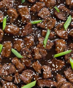 Amazing 30 Minute Mongolian Beef. Tender flank steak fried and tossed in a thick Asian inspired sauce. Way better than takeout!
