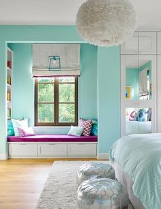 Turquoise blue girl's bedroom features a white feather chandelier, Eos White Pendant, illuminating a white bed dressed in pale blue bedding. Teen Bedroom Designs, Bedroom Images, Bedroom Ideas, Turquoise Room, Turquoise Girls Bedrooms, Girls Bedroom Blue, White Bedrooms, Bleu Turquoise, Gray Bedroom