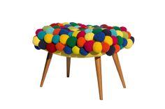 Banqueta pé palito REGINA MISK crochet multicolorido,feito à mão WWW.REGINAMISK.COM