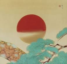Image result for woodcut print of rising sun
