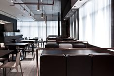 Image 12 of 13 from gallery of Tatami Japanese Restaurant / Jassim AlShehab. Courtesy of jassim alshehab Restaurant Booth, Restaurant Design, Japanese Restaurant Interior, Home Library Design, Shop Interiors, Minimalist Interior, Commercial Interiors, Large Windows, Picture Design