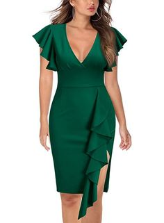 Looking for Knitee Women's Deep-V Neck Ruffle Sleeves Cocktail Party Pencil Slit Formal Dress ? Check out our picks for the Knitee Women's Deep-V Neck Ruffle Sleeves Cocktail Party Pencil Slit Formal Dress from the popular stores - all in one. Pretty Dresses, Sexy Dresses, Fashion Dresses, Dresses Dresses, Bride Dresses, Casual Dresses, Wedding Dresses, Short Beach Dresses, Short Sleeve Dresses