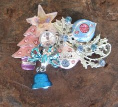 Pastel Holiday Vintage Brooch Christmas Collage