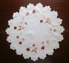Society Silk Hand Embroidery Centerpiece Doily Antique Strawberries