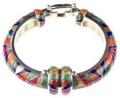 Multi-inlay bracelet with lapis, carnelian and other beautiful stones by Kelly Charveaux.