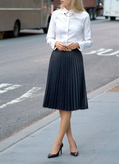 zara coated pleated midi skirt gold circle collar tips pins asos faux leather pleated skirt brooks brothers non iron stretch tailored oxford white shirt Fashion Mode, Office Fashion, Work Fashion, Womens Fashion, Street Fashion, Business Outfit, Business Casual Outfits, Classy Cubicle, Accordion Skirt