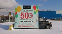 Capital Vision Care utilized a Mobile AdVan to promote a one day sale. #outdooradvertising #alternativeadvertising #mobilebillboards #outofhomemarketing