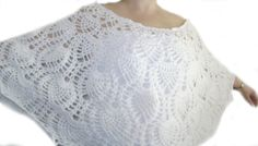 Crochet Wedding Shawl.Crochet White Lace by RiaCrochetCreations