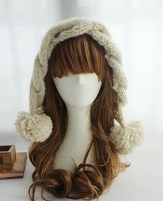 Warm Fluffy Ball Pendant Solid Color Knit Beanie – teeteecee - fashion in style Knit Beanie, Women's Accessories, Warm, Knitting, Pendant, Fashion Ideas, Color, Style, Swag