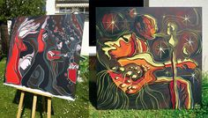 Voici deux tableaux l'un sur le flamenco, l'autre sur le jazz et la musique. De format 100 x 100 cm en cadre 3d je les réalisent comme si c'était des vitraux. aimez vous ce style et lequel préférez vous ? www.stephane-hauton.fr  Here are two tables one on flamenco and one on jazz and music. Format 100 x 100 cm in