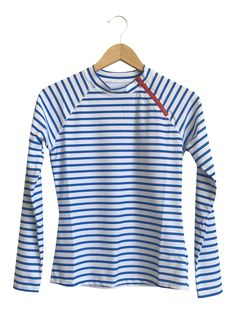 Blue Stripe Zipper Rashguard