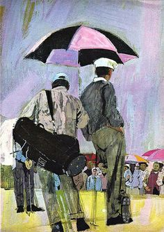 Famous Artists Course Illustrated by Bernie Fuchs © 1967 Courtesy of Matt Dicke Art And Illustration, Fuchs Illustration, Magazine Illustration, Vintage Illustrations, Golf Art, Umbrella Art, Vintage Golf, Ad Art, Sports Art