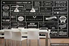 Love love loving this vintage butcher's paper-inspired wall. Designed by Bryce Alexander.