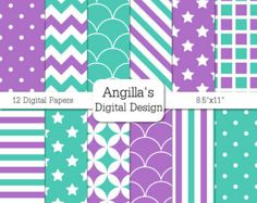 "Turquoise and Purple Digital Papers - Pack of 14 Papers - 8.5"" x 11"" - Instant Download - Commercial Use (078)"