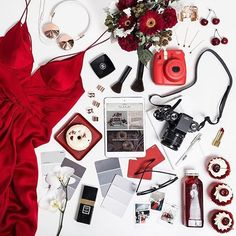 Flatlays /flatlays/ Lady in red. Flat...Instagram photo | Websta (Webstagram)