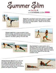 Summer Slim printable workout from Tone It Up! Works the core, butt, legs and back.