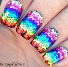 Sparkly Rainbow nail art by Sparkly Nails by Spejldame