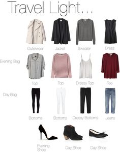 How to pack light, except I would forget about the heels...they would be deadly on the cobblestone streets in Europe!!!