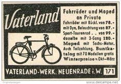 Original-Werbung/ Anzeige 1955 - VATERLAND FAHRRÄDER / NEUENRADE - ca 45 x 35 mm