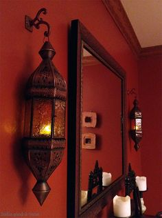 A Dash of Moroccan Design - Moroccan Decor Moroccan Bedroom, Bedroom Red, Moroccan Interiors, Mirror Bedroom, Moroccan Decor Living Room, Bathroom Sconces, Bedroom Curtains, Bedroom Modern, Modern Room
