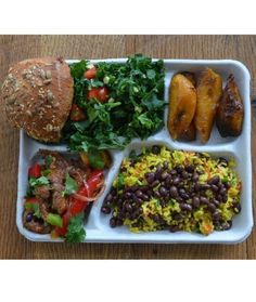 Brazil - school cafeteria lunch in Brazil . Why can't we feed our students this well ! A balanced, healthy lunch ! And no catsup bowl as a veggie.