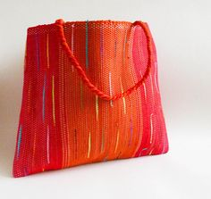 Shopper. Big red hand woven everyday shopping tote. Spacious
