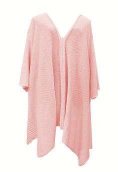 AKH Fashion Lagenlook langer weiter Strick Pullover in rosa große Größen bei www.modeolymp.lafeo.de