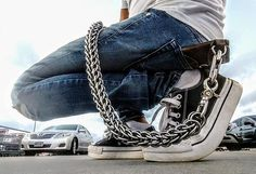 The Anvil Persian has been a long standing staple with s. Only uses the PERFECT gauge of the PERFECT Stainless Steel rings to make his chains. Get OFF until midnight tonight with code: AFCCHAMPS Diy Fashion, Mens Fashion, Handmade Wire Jewelry, Skull Bracelet, Stainless Steel Rings, Wallet Chain, Death Metal, Leather Working, High Top Sneakers