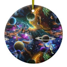 Space Nebula and Planets Ceramic Ornament - Xmas ChristmasEve Christmas Eve Christmas merry xmas family kids gifts holidays Santa Unique Presents, Star Designs, Cool Diy, Kids Gifts, White Porcelain, Cool Gifts, Astronomy, Galaxies, Planets