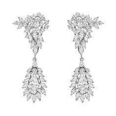 Estate Betteridge Collection Diamond Cluster Pendant Earrings (=)