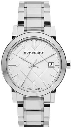 $495, Silver Watch: Burberry Large Check Stamped Bracelet Watch 38mm. Sold by Nordstrom. Click for more info: https://lookastic.com/women/shop_items/155293/redirect