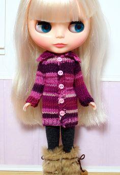 SALE...BLYTHE doll hand knit long sweater coat by TiredMomKnits
