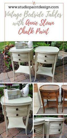 Painted vintage bedside table