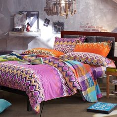 Purple Orange and Blue Zig Zag Stripe Gypsy Themed Bohemian( BOHO ) Style Abstract Design 100% Brushed Cotton Full, Queen Size Bedding Sets - EnjoyBedding.com