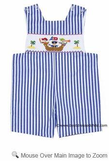 Anavini Infant / Toddler Boys Blue Striped Smocked Pirate Ship Jon Jon