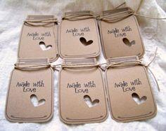 18 Mason Jar Kraft Gift-Favor-Wedding Tags by JsCraftyStudio Mason Jar Tags, Mason Jar Crafts, Wedding Tags, Wedding Favors, Wedding Gifts, Card Tags, Gift Tags, Handmade Tags, Paper Tags