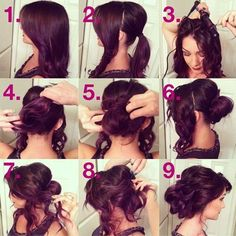 a romantic messy updo done by Heidi Marie Garrett. Don't be afraid of leaving some curls hanging or making this updo look a little messy, this sassy and easy updo is great for weddings or any other formal occasion.