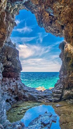 ocean view, amazing blue skies from between two limestone cave walls