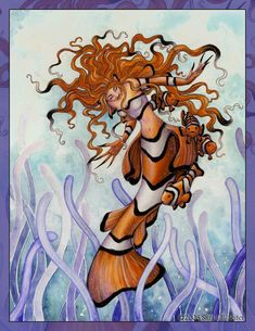 [Fantasy art] Even Clowns Can Be Beautiful by sarahbseiter at Epilogue Mermaid Artwork, Mermaid Drawings, Art Drawings, Mermaid Paintings, Fantasy Mermaids, Mermaids And Mermen, Mythological Creatures, Mythical Creatures, Ange Demon