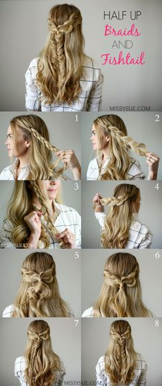 This bohemian style half updo is a great way to wear your hair this Fall. Braids never go out of style and a bohemian vibe is always so fresh. Make this look more casual by pulling the edges of the br