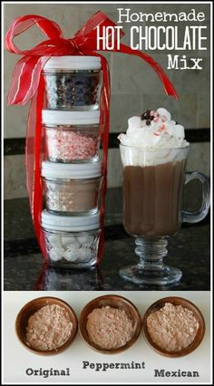 Homemade Hot Chocolate Mix Recipe including 3 flavors, Original, Mexican, and Peppermint. Great holiday or homemade Christmas gift! Hot Chocolate Mix Recipe Gift, Hot Cocoa Recipe, Cocoa Recipes, Homemade Hot Chocolate, Hot Chocolate Recipes, Chocolate Diy, Hot Chocolate Gift Basket, Jar Recipes, Mexican Hot Chocolate