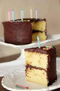 chocolate frosted yellow cake (Smitten Kitchen recipe)