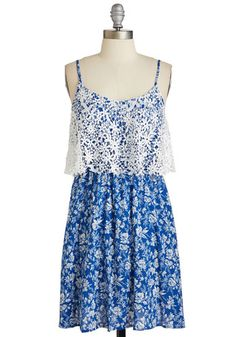 Stop, Popover, and Stroll Dress - Sundress, Short, Woven, Blue, White, Floral, Print, Casual, A-line, Sleeveless, Good, V Neck