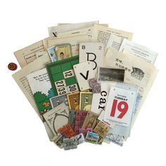 Multicolour ephemera Collage Art Pack with 50 pieces. Vintage Ephemera, Vintage Paper, Collage Art, Packing, Desk, Studio, Wallpaper, Storage, Creative