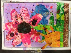 3rd grade Tiny Seed Collage in the style of book illustrator Eric Carle. Printmake paper on day 1. Collage on day 2 & 3 & splatter paint last.
