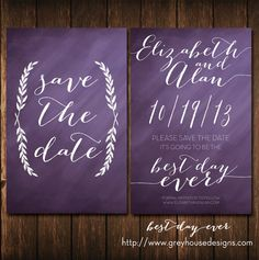 Best Day Ever #Printable #Wedding #Save-the-Date Card in Plum by grey house designs - $15.00 via Etsy